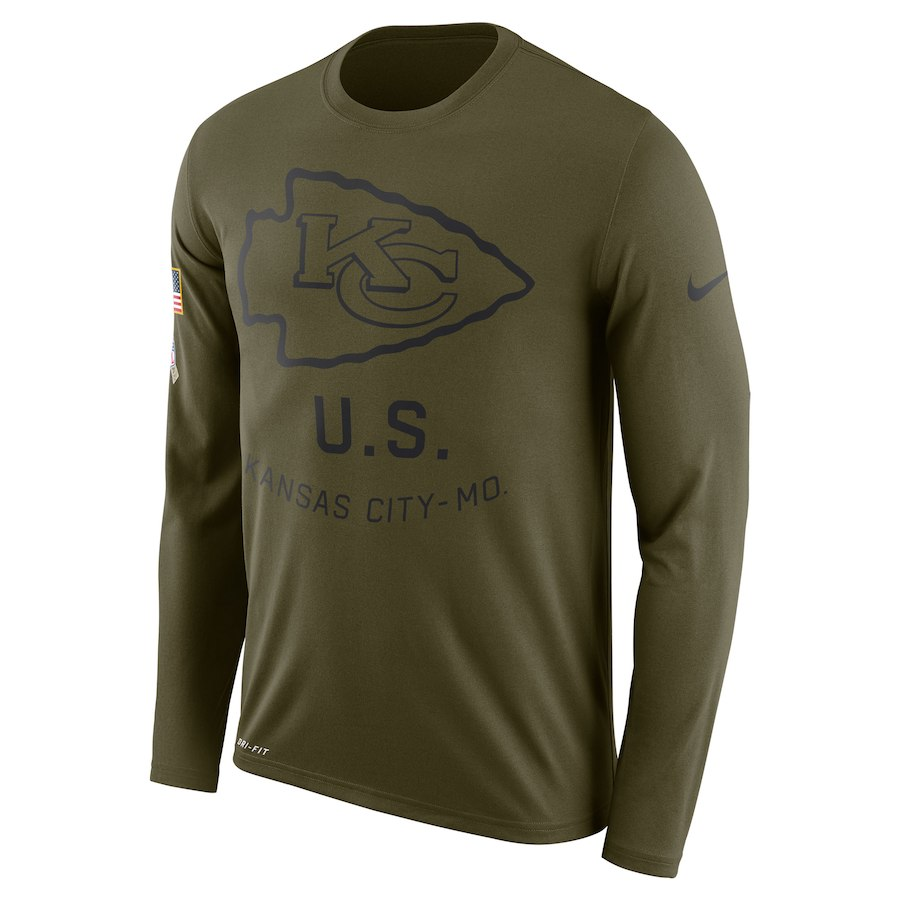 Kansas City Chiefs Nike Salute to Service Sideline Legend Performance Long Sleeve T-Shirt Olive