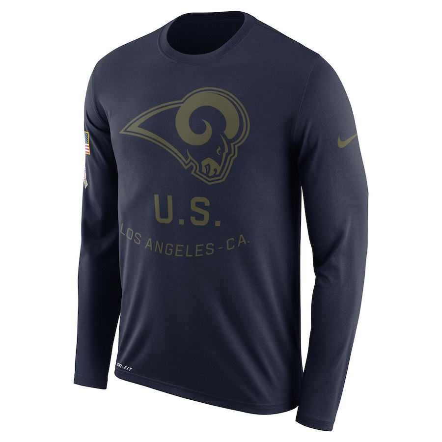 Los Angeles Rams Nike Salute to Service Sideline Legend Performance Long Sleeve T-Shirt Navy