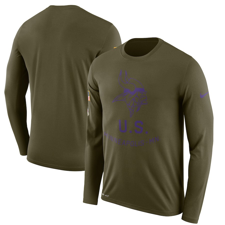 Minnesota Vikings Nike Salute to Service Sideline Legend Performance Long Sleeve T-Shirt Olive