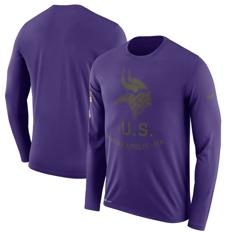 Minnesota Vikings Nike Salute to Service Sideline Legend Performance Long Sleeve T-Shirt Purple