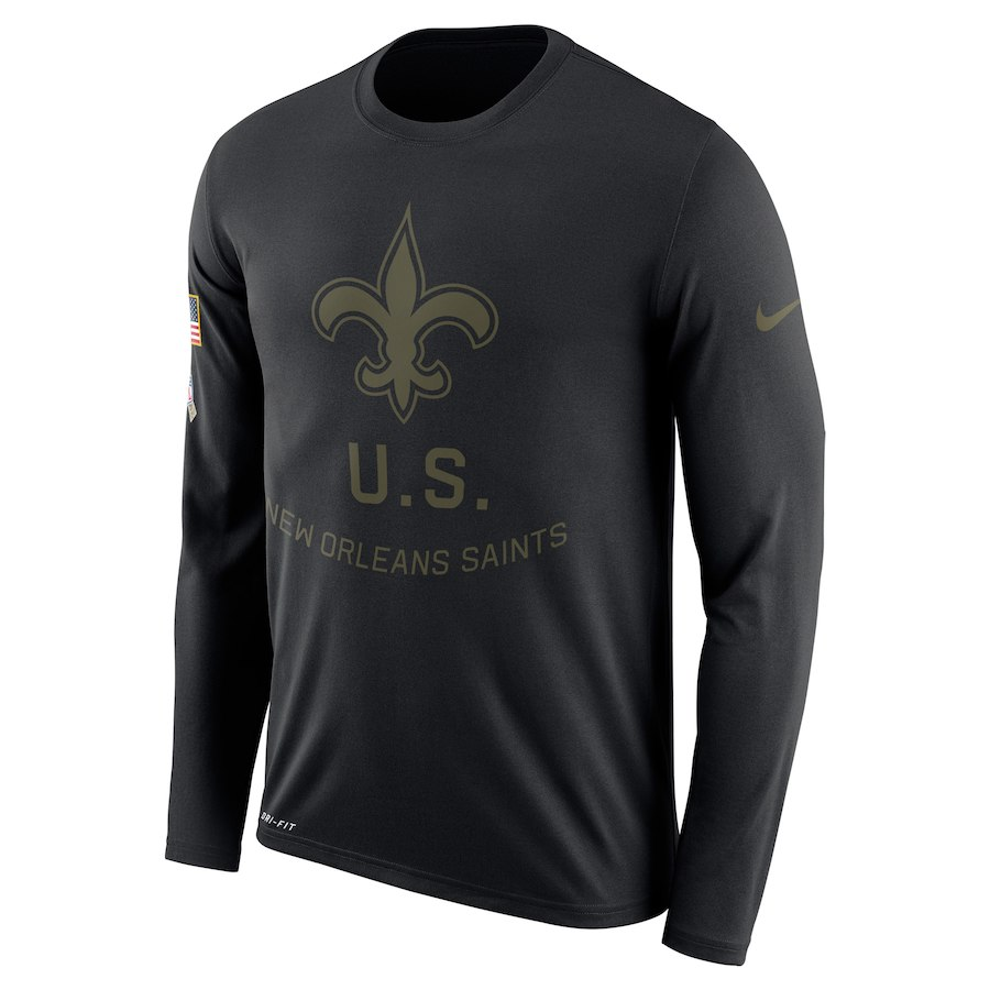 New Orleans Saints Nike Salute to Service Sideline Legend Performance Long Sleeve T-Shirt Black