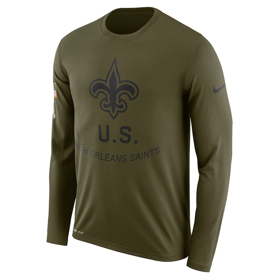 New Orleans Saints Nike Salute to Service Sideline Legend Performance Long Sleeve T-Shirt Olive