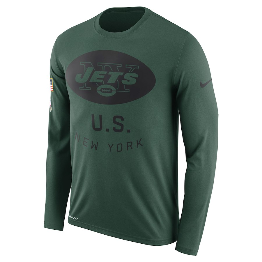 New York Jets Nike Salute to Service Sideline Legend Performance Long Sleeve T-Shirt Green