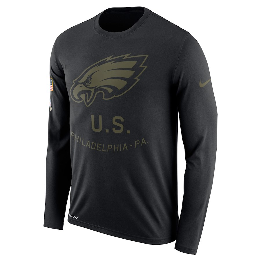 Philadelphia Eagles Nike Salute to Service Sideline Legend Performance Long Sleeve T-Shirt Black