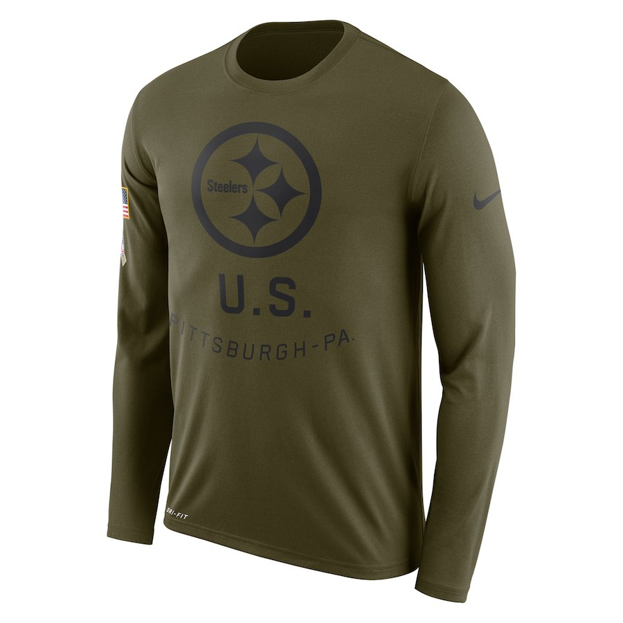 Pittsburgh Steelers Nike Salute to Service Sideline Legend Performance Long Sleeve T-Shirt Olive