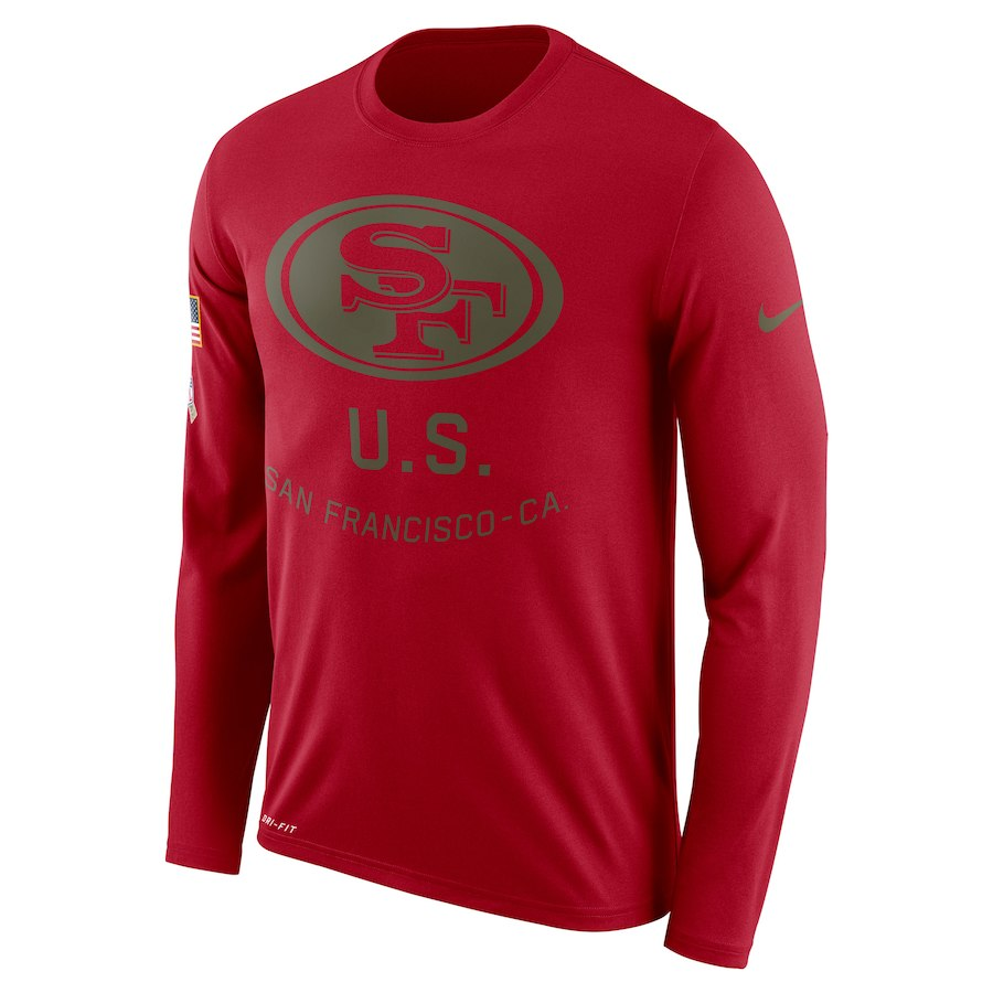 San Francisco 49ers Nike Salute to Service Sideline Legend Performance Long Sleeve T-Shirt Burgundy