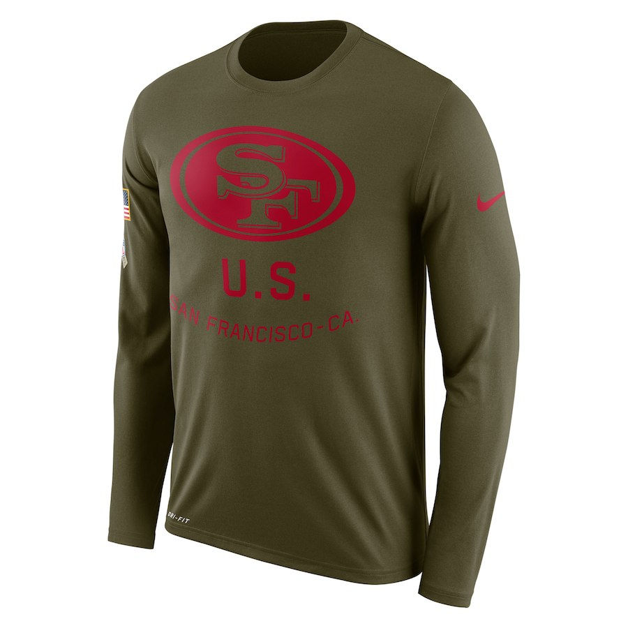 San Francisco 49ers Nike Salute to Service Sideline Legend Performance Long Sleeve T-Shirt Olive