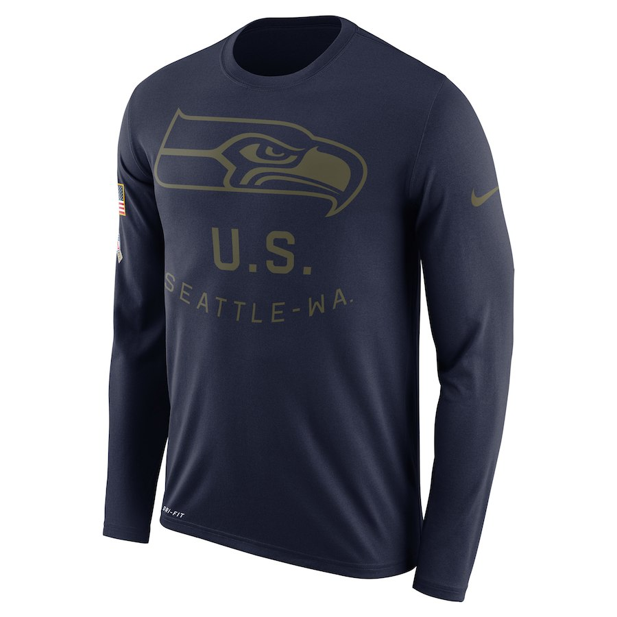 Seattle Seahawks Nike Salute to Service Sideline Legend Performance Long Sleeve T-Shirt Navy