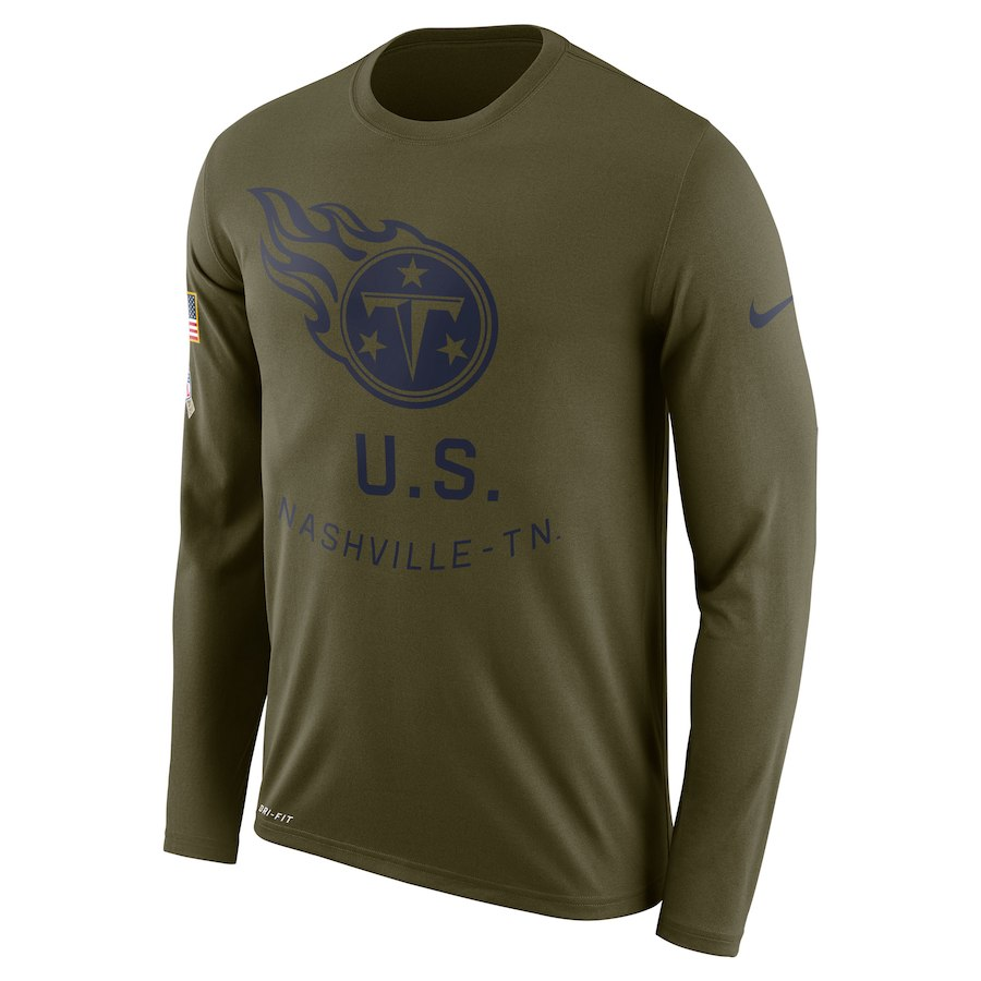 Tennessee Titans Nike Salute to Service Sideline Legend Performance Long Sleeve T-Shirt Olive