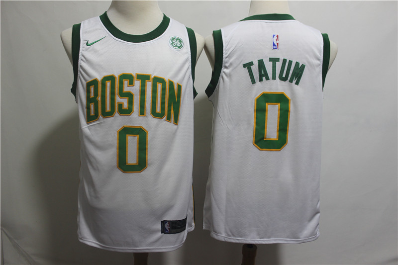 Celtics 0 Jayson Tatum White 2018-19 City Edition Nike Swingman Jersey