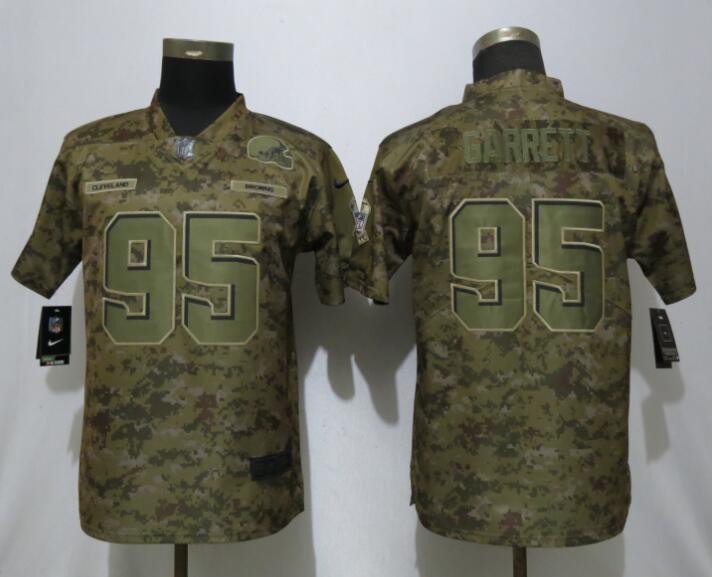 Nike Browns 95 Myles Garrett Camo Women Salute To Service Limited Jersey