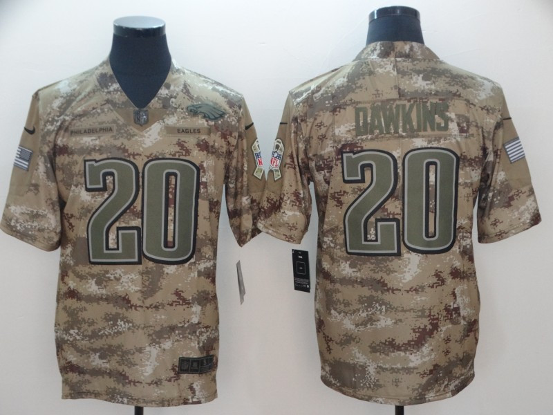 Nike Eagles 20 Brian Dawkins Camo Salute To Service Limited Jersey