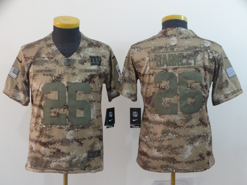 Nike Giants 26 Saquon Barkley Camo Youth Salute To Service Limited Jersey