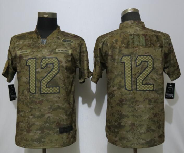 Nike Seahawks 12 Fan Camo Women Salute To Service Limited Jersey