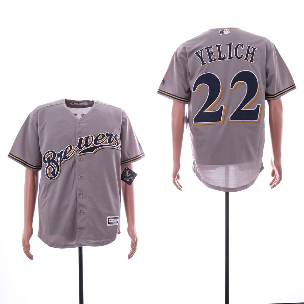 Brewers 22 Christian Yelich Gray Cool Base Jersey