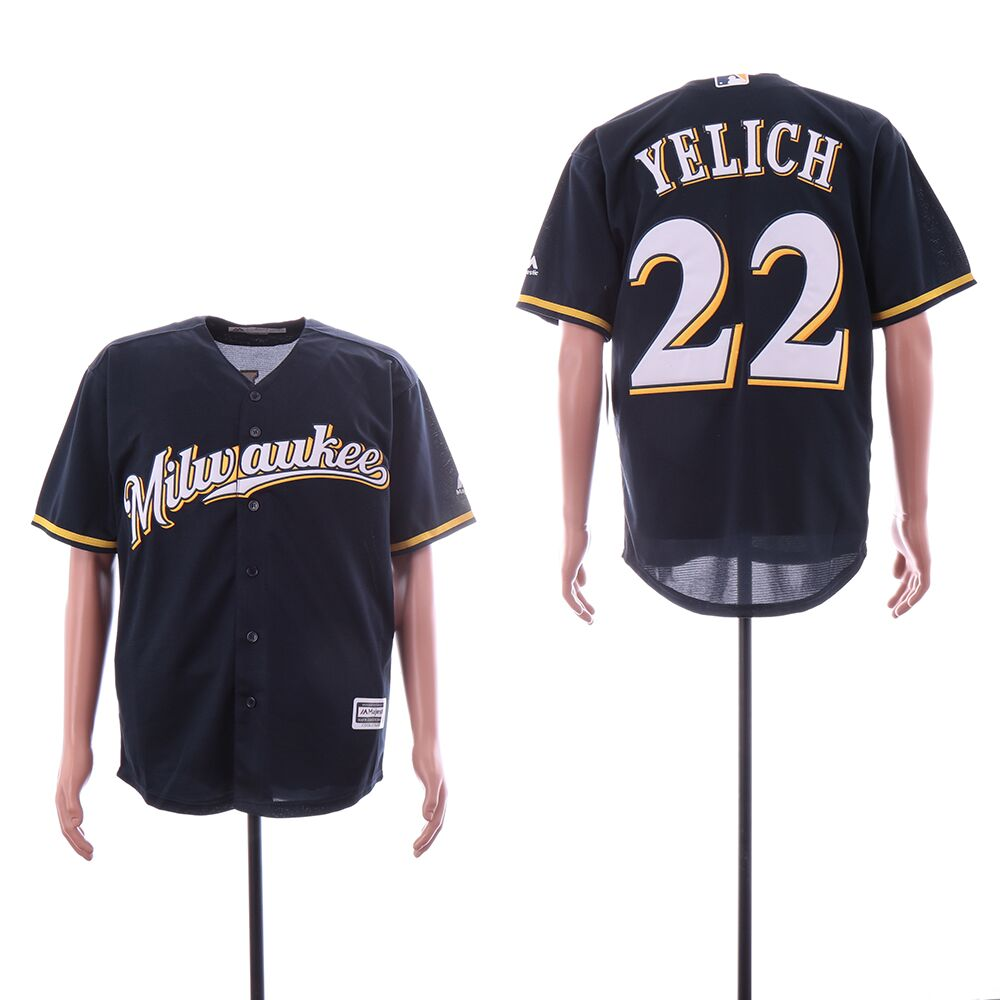Brewers 22 Christian Yelich Navy Cool Base Jersey