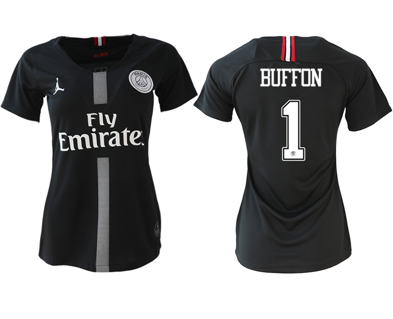 2018-19 Paris Saint-Germain 1 BUFFON Jordan Champions League Black Women Soccer Jersey
