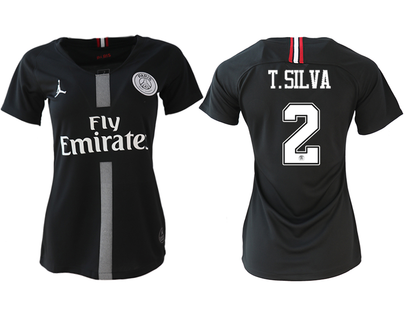 2018-19 Paris Saint-Germain 2 T.SILVA Jordan Champions League Black Women Soccer Jersey