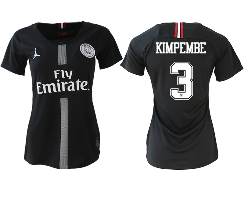 2018-19 Paris Saint-Germain 3 KIMPEMBE Jordan Champions League Black Women Soccer Jersey
