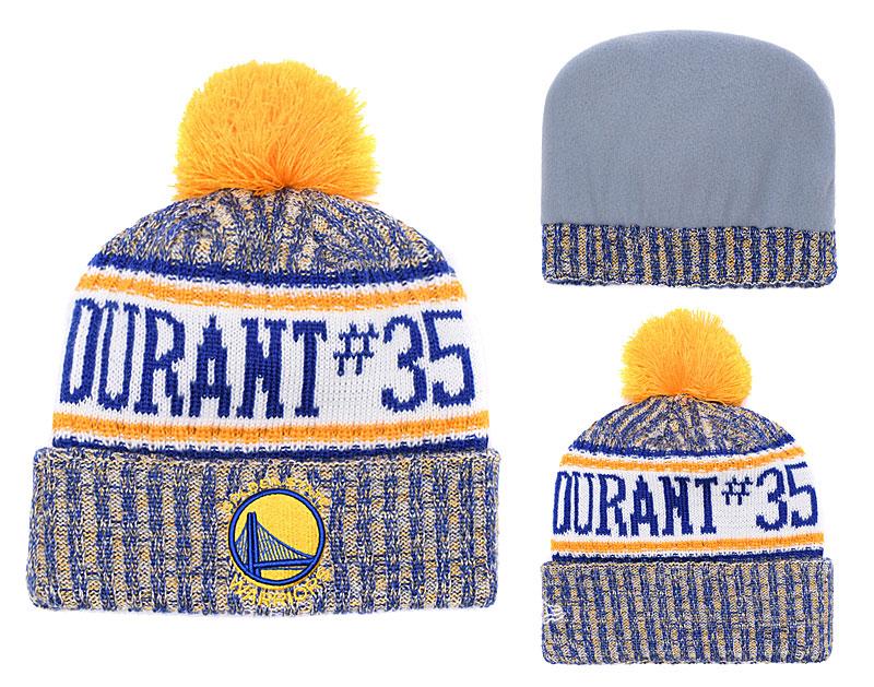 Warriors Fresh Logo Yellow Pom Knit Hat YD