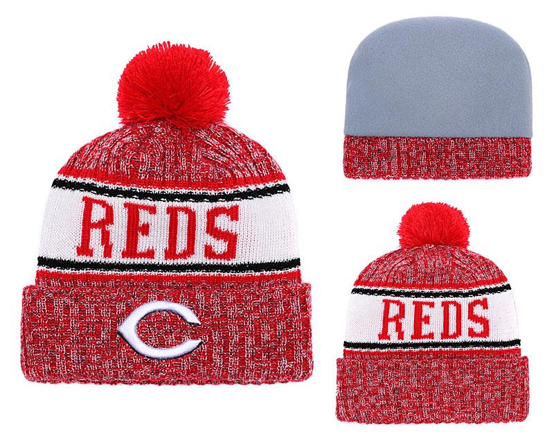 Reds Team Logo Red Pom Knit Hat