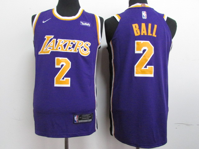 Lakers 2 Lonzo Ball Purple 2018-19 Nike Authentic Jersey