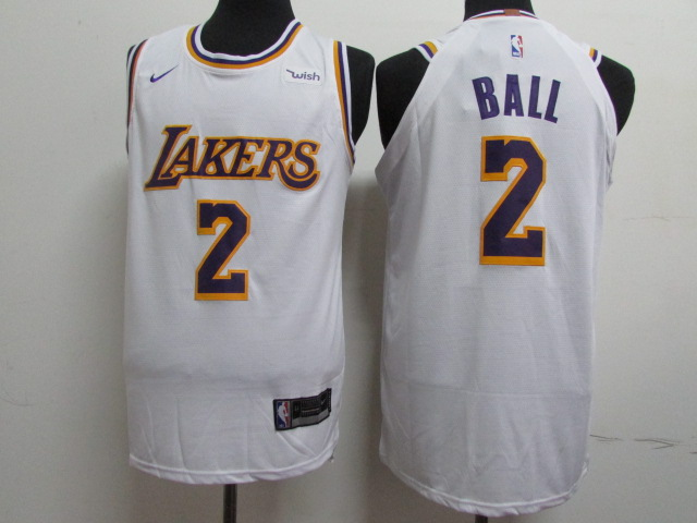 Lakers 2 Lonzo Ball White 2018-19 Nike Authentic Jersey