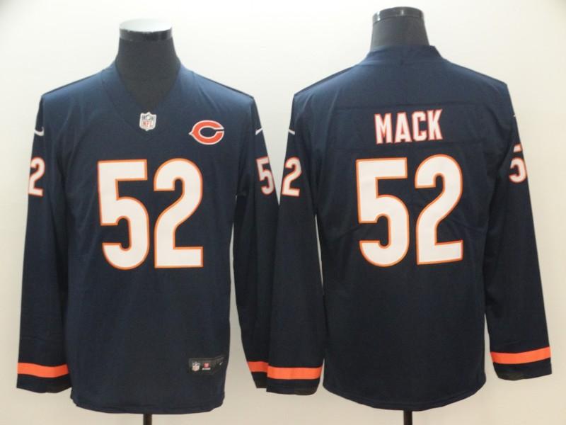 Nike Bears 52 Khalil Mack Navy Therma Long Sleeve Jersey
