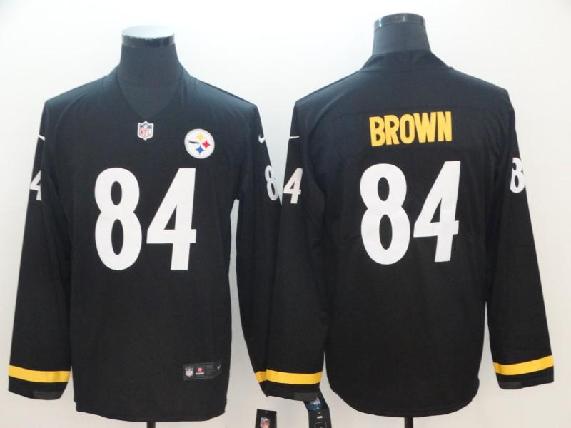 10ab70a35 Nike Steelers 84 Antonio Brown Black Therma Long Sleeve Jersey