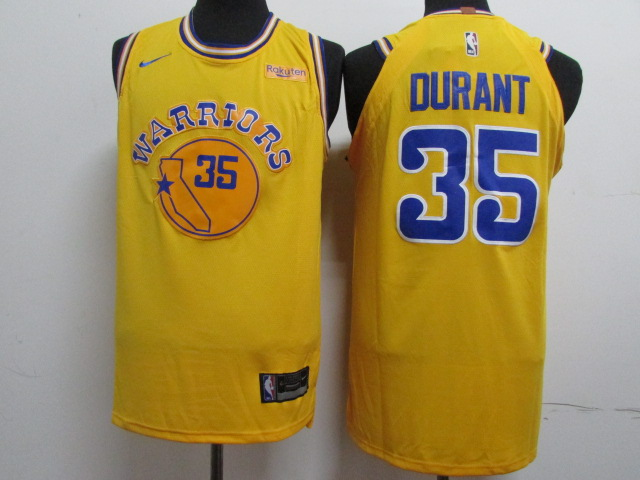 Warriors 35 Kevin Durant Yellow Throwback Nike Authentic Jersey