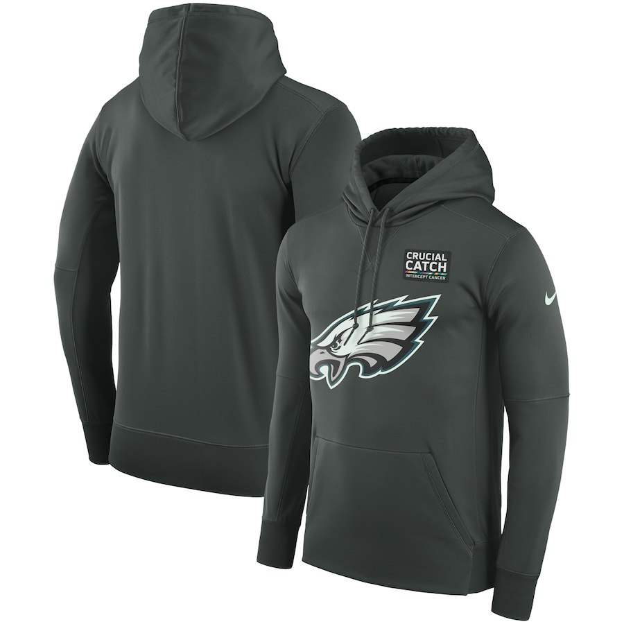 Philadelphia Eagles Anthracite Nike Crucial Catch Performance Hoodie