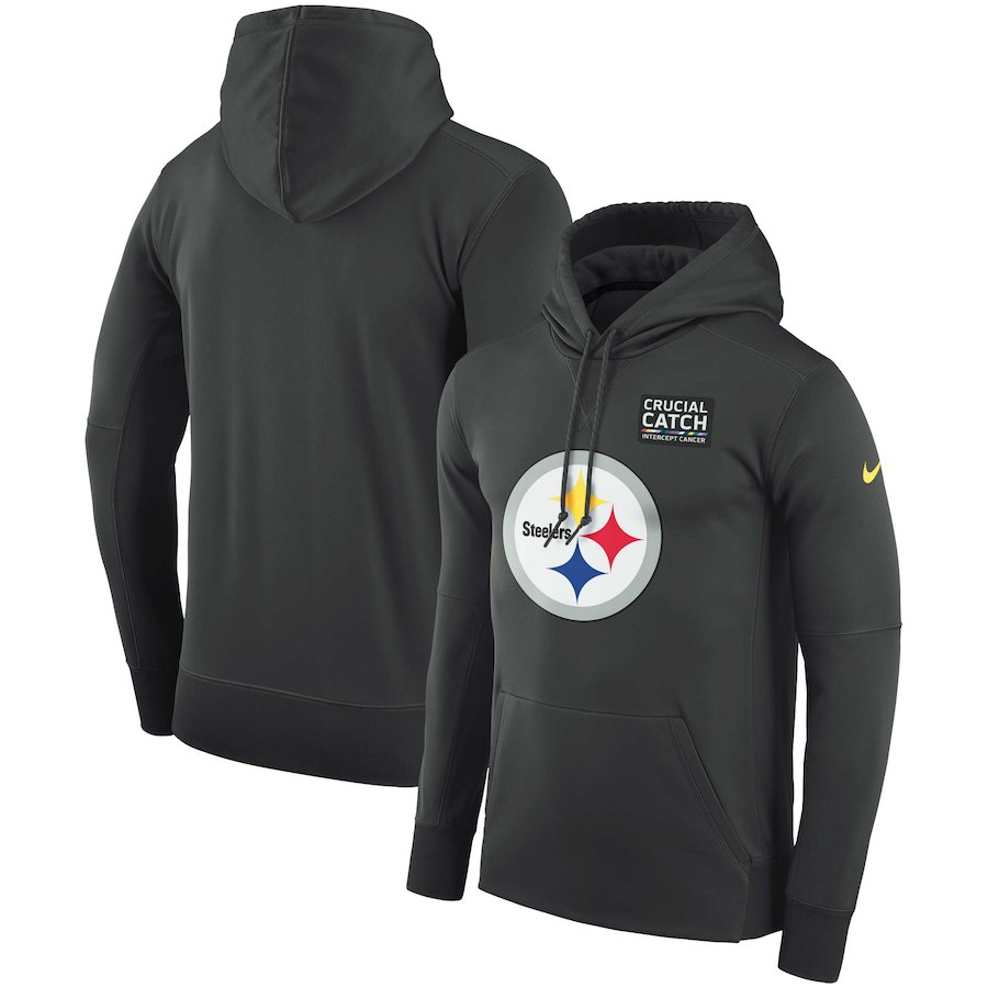 Pittsburgh Steelers Anthracite Nike Crucial Catch Performance Hoodie