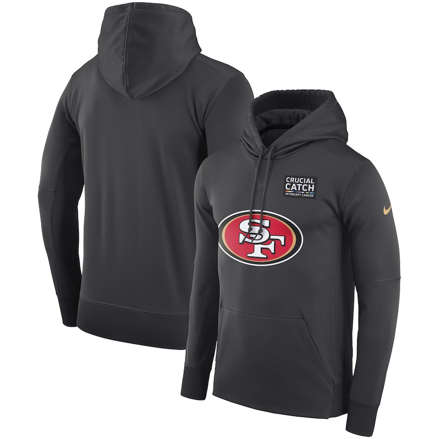 San Francisco 49ers Anthracite Nike Crucial Catch Performance Hoodie