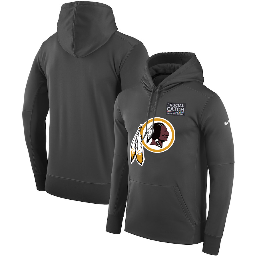 Washington Redskins Anthracite Nike Crucial Catch Performance Hoodie