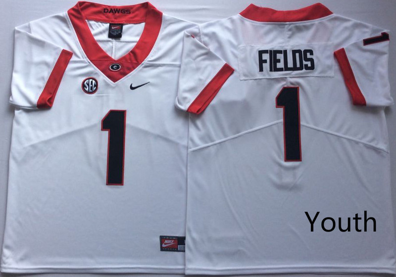 Georgia Bulldogs 1 Justin Fields White Youth Nike College Football Jersey