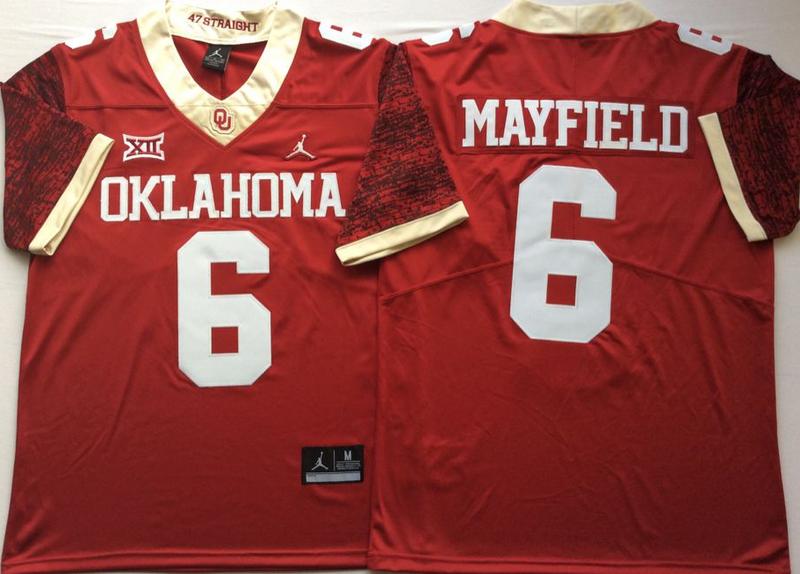 Oklahoma Sooners 6 Baker Mayfield Red 47 Game Winning Streak College Football Jersey