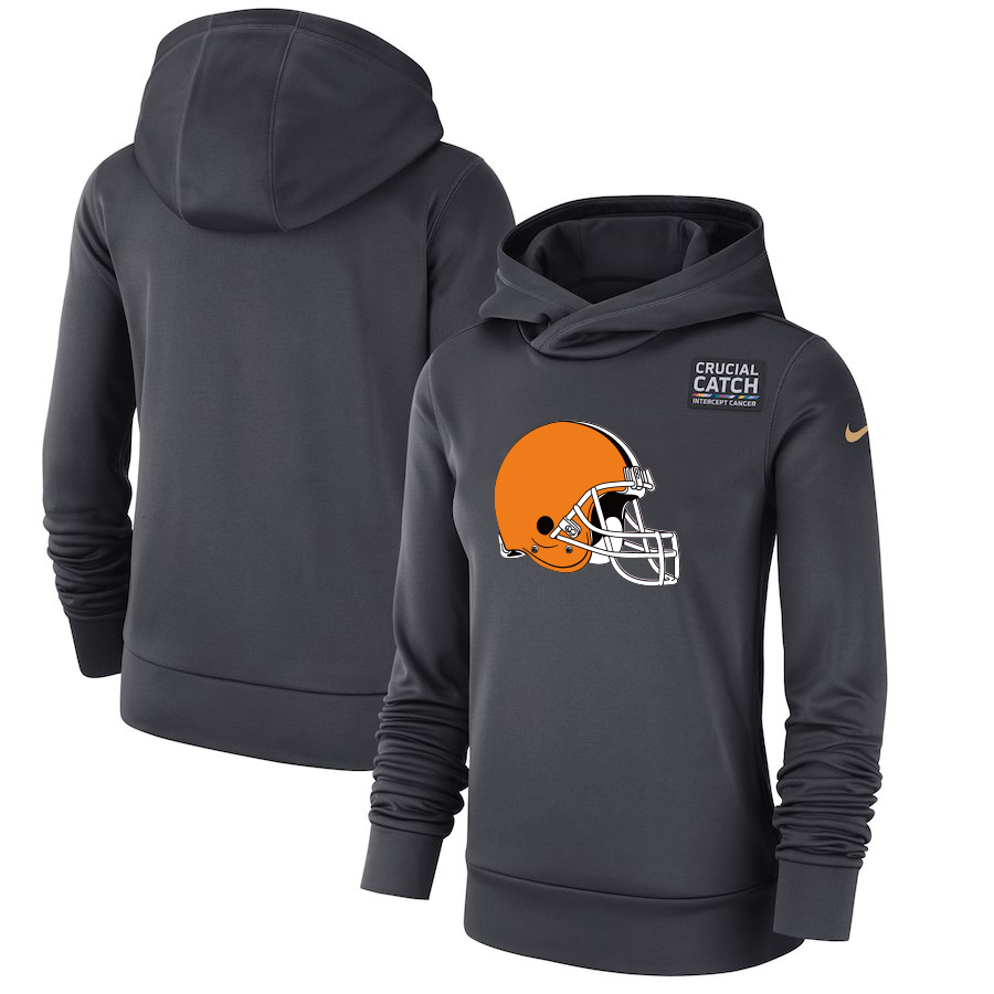 Cleveland Browns Anthracite Women's Nike Crucial Catch Performance Hoodie