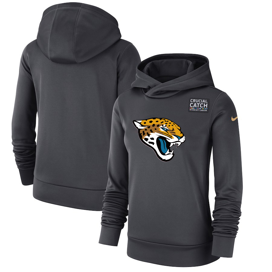 Jacksonville Jaguars Anthracite Women's Nike Crucial Catch Performance Hoodie