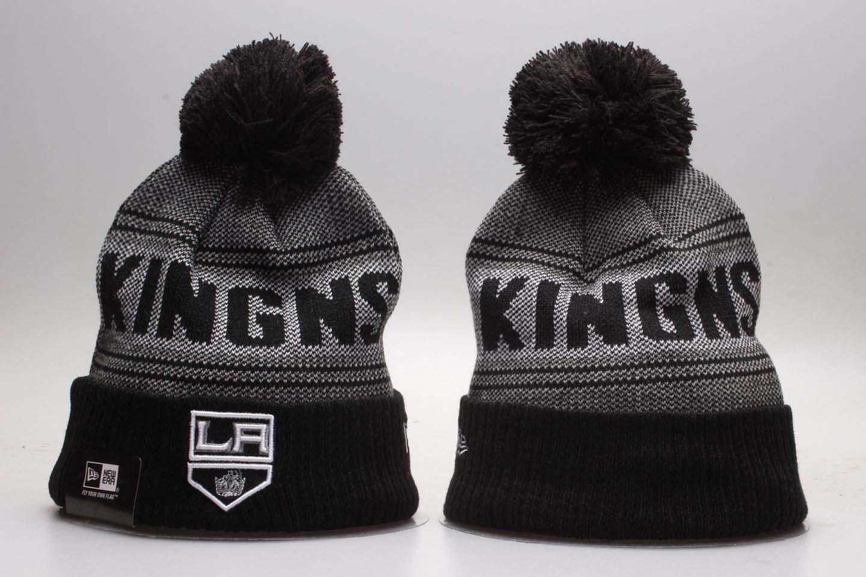 Kings Black Mascot Cuffed Pom Knit Hat YP