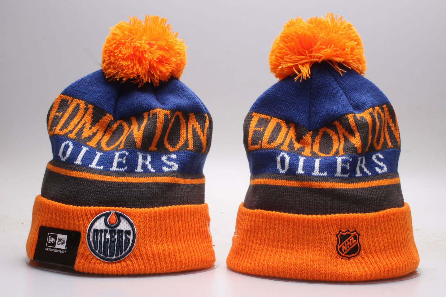 Oilers Heathered Gray Orange Cuffed Pom Knit Hat YP