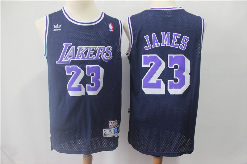 Lakers 23 Lebron James Navy Hardwood Classics Jersey