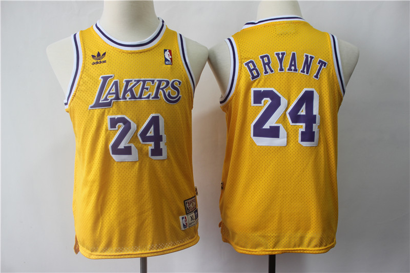Lakers 24 Kobe Bryant Gold Youth Hardwood Classics Jersey