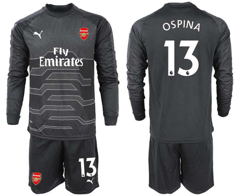 2018-19 Arsenal 13 OSPINA Black Long Sleeve Goalkeeper Soccer Jersey