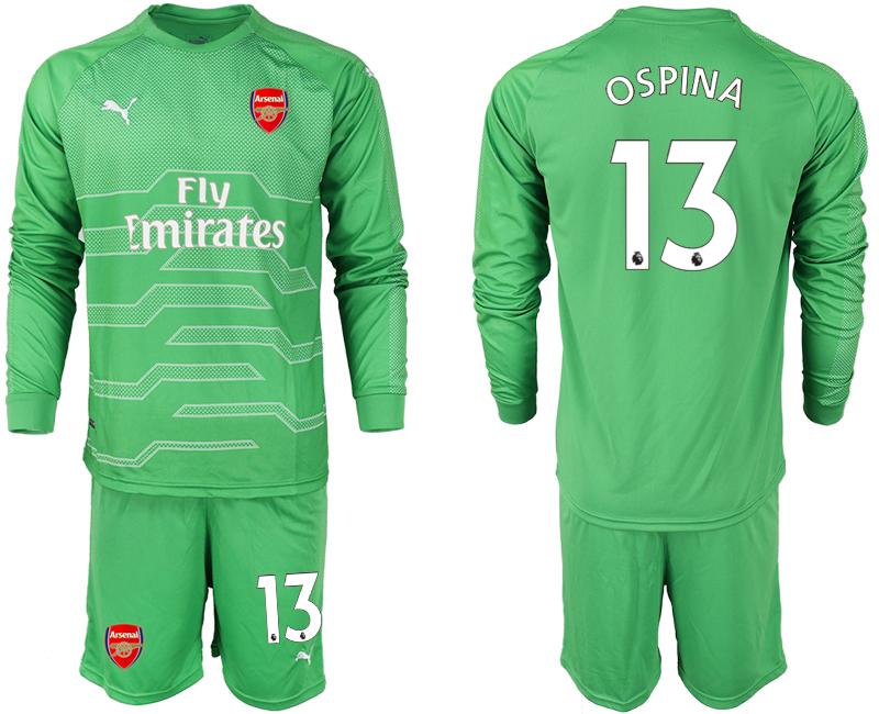 2018-19 Arsenal 13 OSPINA Green Long Sleeve Goalkeeper Soccer Jersey