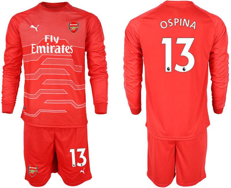 2018-19 Arsenal 13 OSPINA Red Long Sleeve Goalkeeper Soccer Jersey