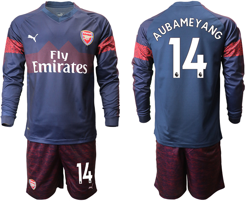 2018-19 Arsenal 14 AUBAMEYANG Away Long Sleeve Soccer Jersey