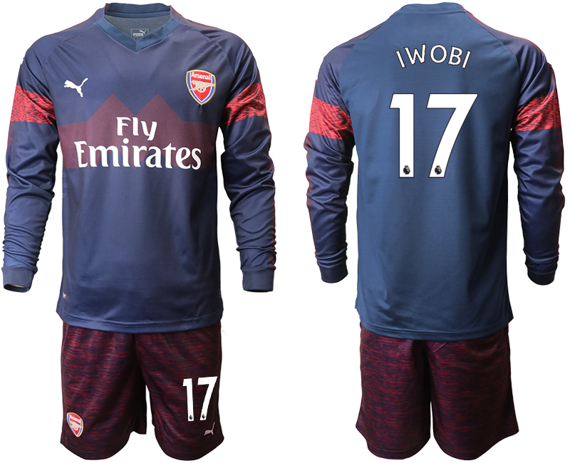 2018-19 Arsenal 17 IWOBI Away Long Sleeve Soccer Jersey
