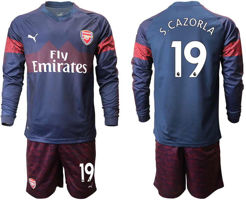 2018-19 Arsenal 19 S.CAZORLA Away Long Sleeve Soccer Jersey