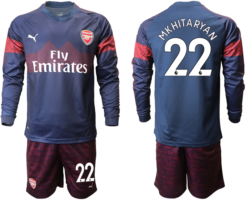 2018-19 Arsenal 22 MKHITARYAN Away Long Sleeve Soccer Jersey