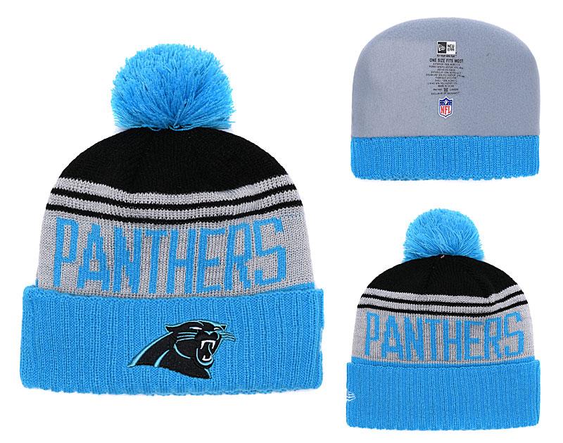 Panthers Fresh Logo Blue Pom Knit Hat YD